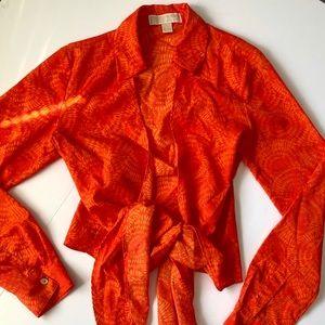 Michael Kors Orange Tie Dye Front Tir Shirt